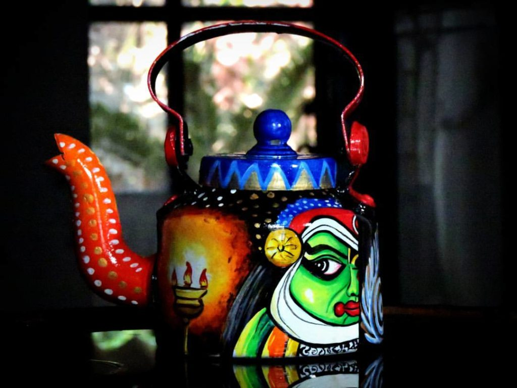 A hand-painted kettle