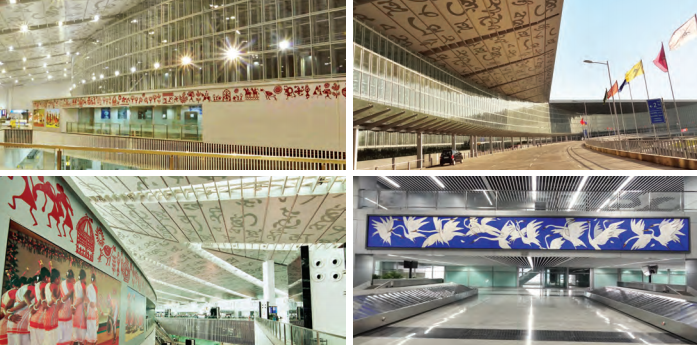 Kolkata Airport is adorned by various forms of art that bring out the city's culture, from Rabindranath Tagore's words to paintings and murals by different artists