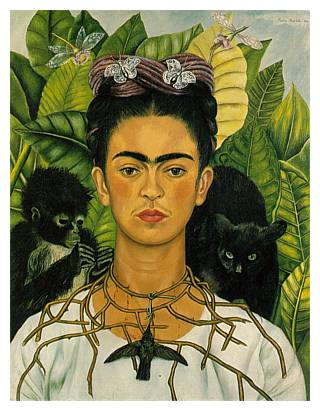 'Self Portrait with Thorn Necklace and Hummingbird', 1940