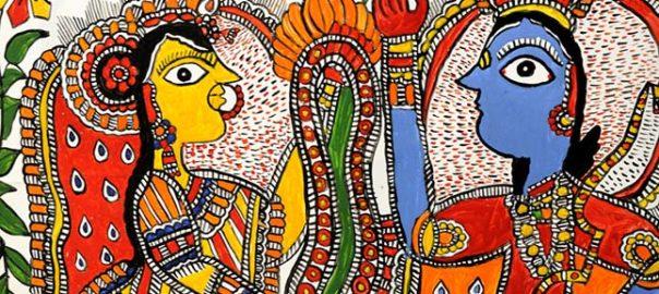 """Une scène mythologique représentée dans la peinture """"Madhubani"""