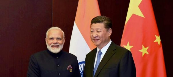 Indian PM Narendra Modi with Chinese President Xi Jinping earlier this year Picture: PTI