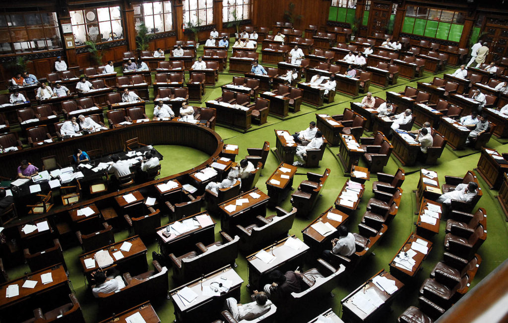 Empty seats seen during assembly session at Vidhana Soudha in Bangalore on Friday. –KPN
