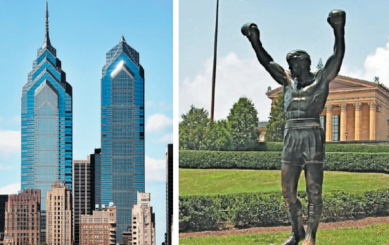 One Liberty Place dominates the skyline here; (Bottom right) The Rocky Statue, created for the movie Rocky III, is now a real-life monument to a celluloid hero