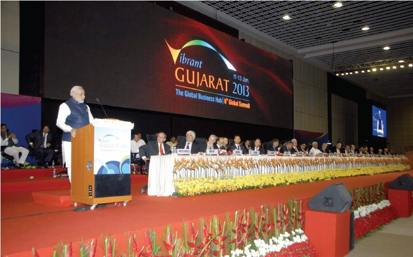From the files: The then Chief Minister of Gujarat Narendra Modi addressing the gathering at Vibrant Gujarat 2013