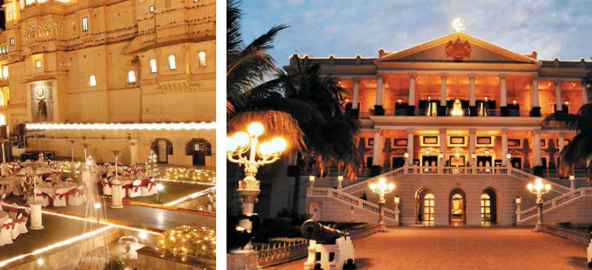 (L-R) Goa is one of the most preferred places for destination weddings; City Palace in Udaipur offers space for wedding rituals and ceremonies; Hyderabad in South India is among emerging wedding destinations with properties such as Taj Falaknuma Palace