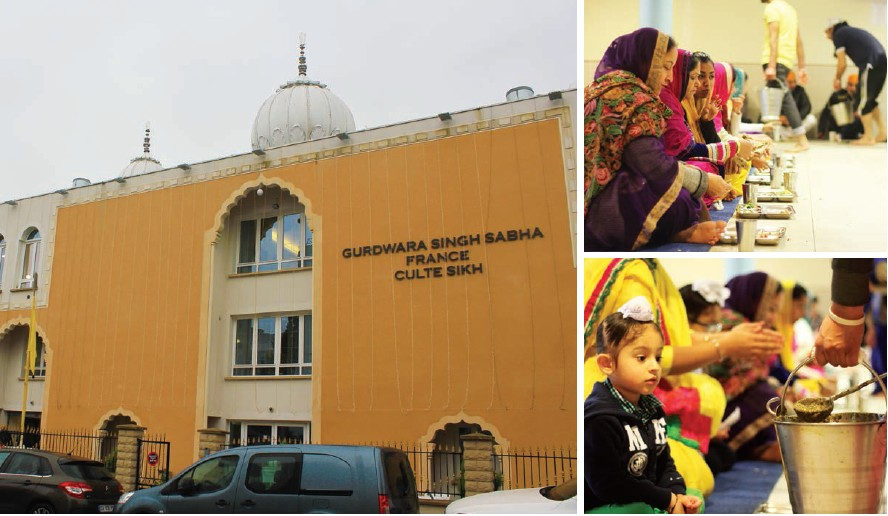 Façade du Gurdwara Singh Sabha and Au langar on sert du dal
