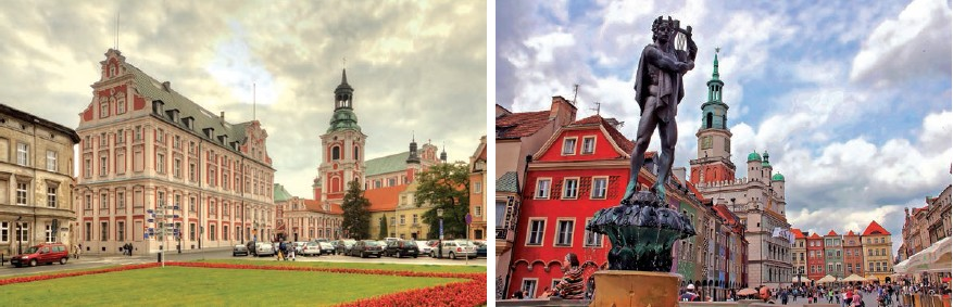 The Jesuits' college now harbours a dance school and A fountain on the Old Market Square, with the Town Hall (Ratusz) towers behind