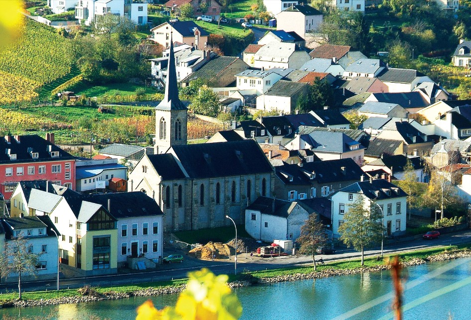 A panoramic view of vineyards and village of Machtum (Moselle)