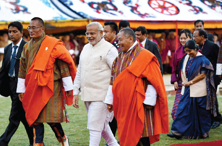Modi met Bhutanese King Jigme Khesar Namgyel Wangchuck and Prime Minister Tshering Tobgay, during his recent visit to Bhutan