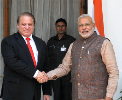 Narendra Modi with the Prime Minister of Pakistan, Nawaz Sharif, during his swearing-in ceremony for Prime Minister