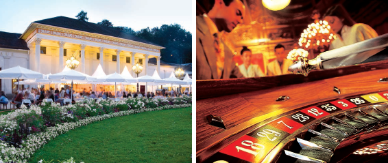 (Left) The spa garden outside the Kurhaus Casino is a green oasis; (right) Kurhaus Casino, one of the world's most beautiful casinos
