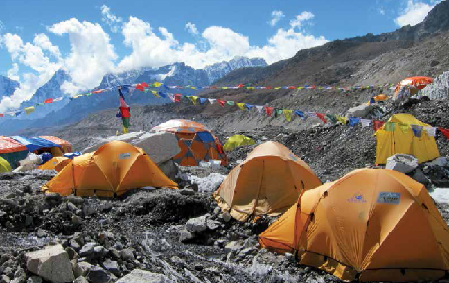 Tents of summit expeditions sprawled at the base camp ahead of Gorak Shep