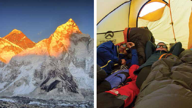 Left) Nuptse and Everest at sunset as seen from atop Kalapathar with the Kumbhu glacier below; (Right) life inside the tent
