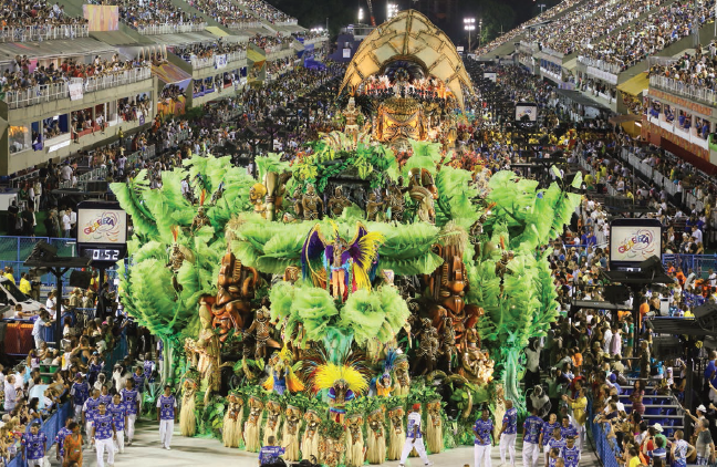 "The champion of Carnival 2015 Beija-Flor school explored the African continent at Sambadrome with the theme ""A griot tells the story : A look at Africa and the emergence of Equatorial Guinea. Let us walk on the path of our happiness"""