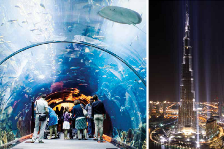 Aquaventure Waterpark at the Atlantis Palm Hotel (left) and Burj Khalifa (right) are not-to-miss places for entertainment in Dubai