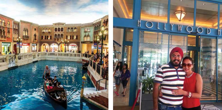 Nothing could be more romantic than taking a serene gondola ride in Macau & Couple enjoyed their stay at Hollywood Hotel in Hong Kong