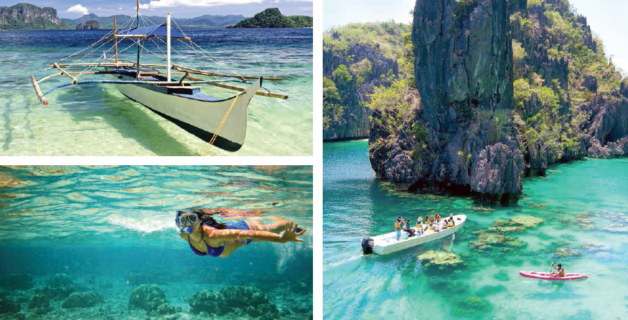 (Clockwise) Snorkeling the reef; a typical local boat; view of the big lagoon