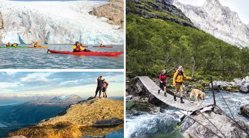 (Clockwise) Magnificient views on the trail; kayaking a glacial lake; hiking the picturesque cliffs