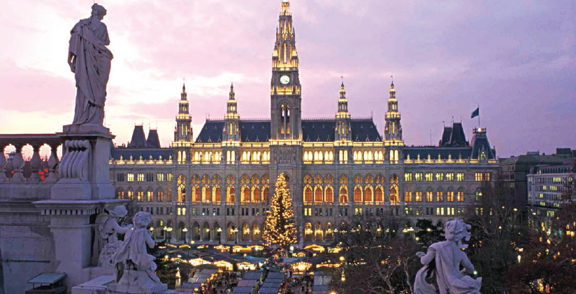 (Top) Decorated Rathaus is the central landmark; (middle) honeymoon suite of the Week Royal Suite - Hotel Imperial; (bottom) horse carriage is still a very viennese tradition