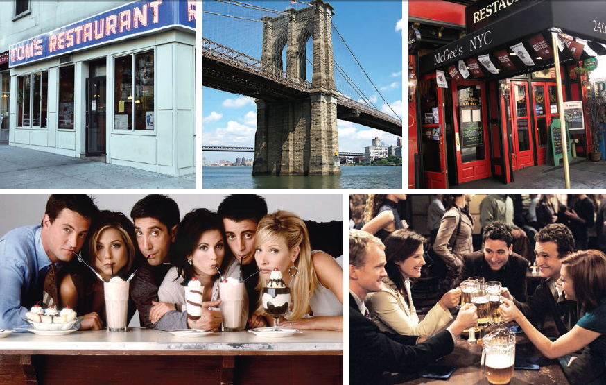 Places such as the Tom's Cafe, Brooklyn Bridge and MC Gee's Restaurant have been well established by popular SItcoms based in NYC