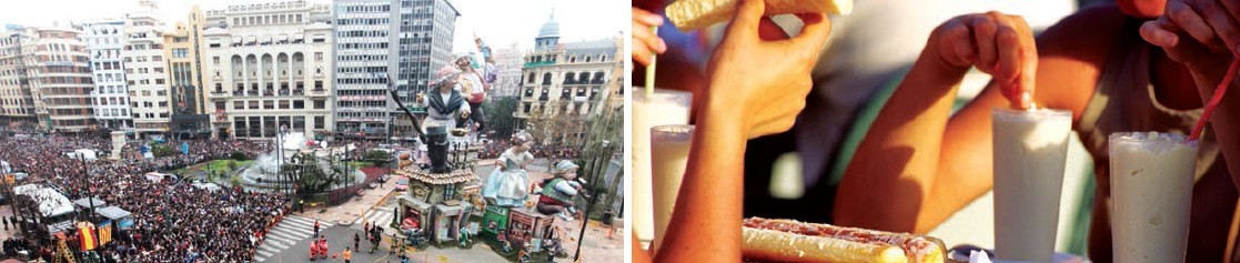 (Left) Large gathering at the Mascleta event; (Right) People relishing Cubanito, a famous drink in Alicante