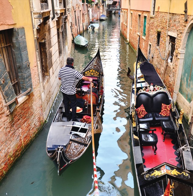 Narrow canals of the city busy with traffic