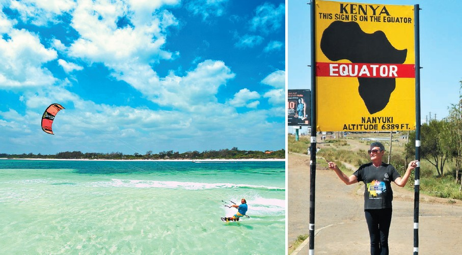 (Left) Enjoy wind surfing in Watamu Beach in Kenya; (right) The Nanyuki town, which is in the center of Kenya, is known mainly for its equator point