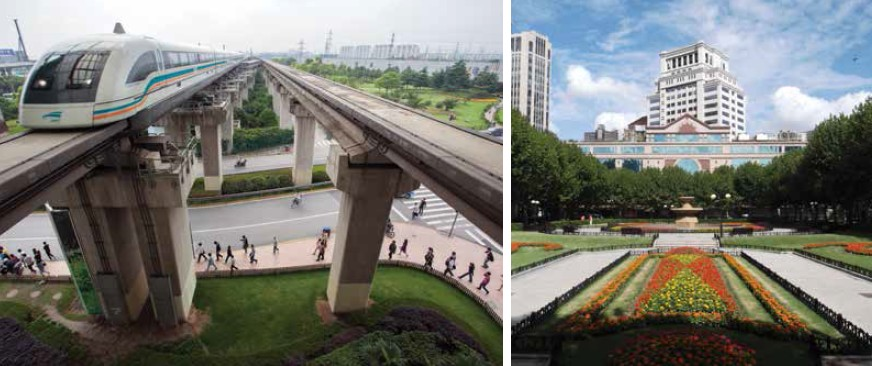(left) Maglev - train ride from the airport to the city, is a perfect metaphor of Shanghai; (right) Fuxing Park - A French-style park which creates quite and beautiful enclave for the local people