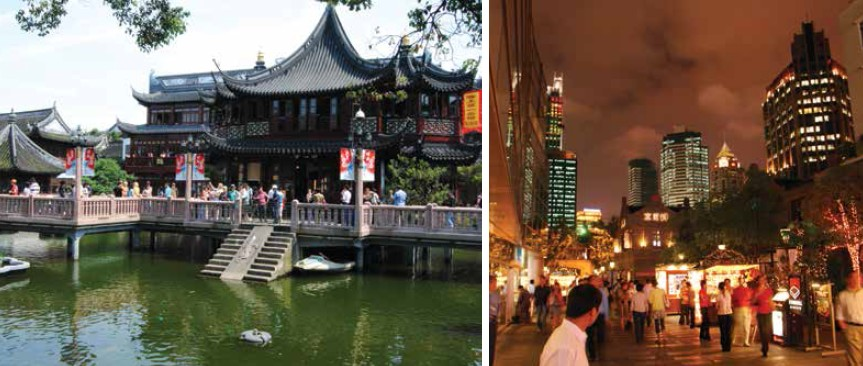(Left) Established in Ming Dynasty, Yuyuan Garden is divided into scenic sections; (Right) Nanjing Road - A walking cum shopping street