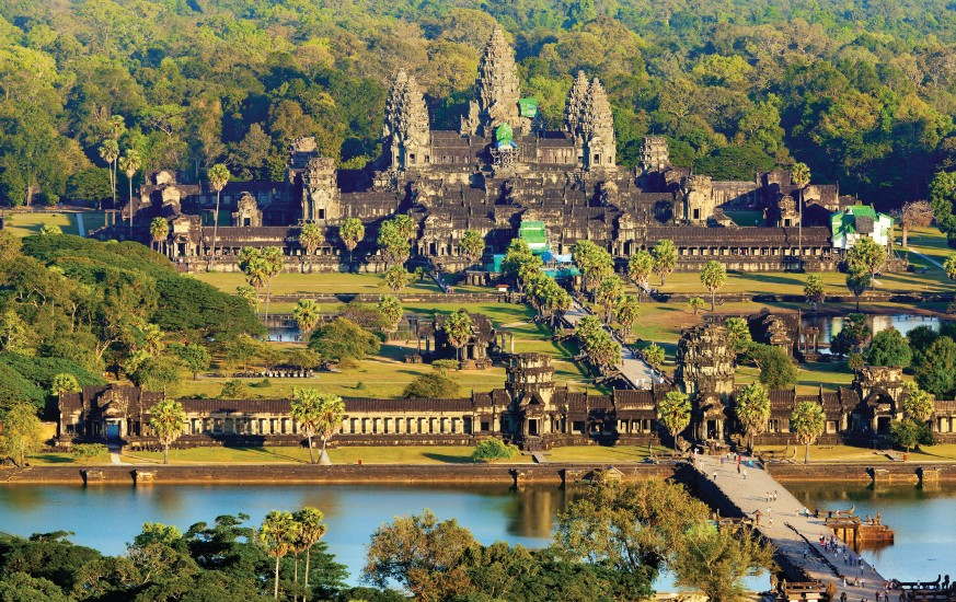 An aerial view of Angkor Wat temple
