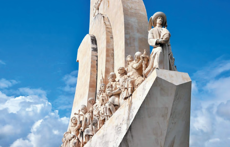 The Portuguese maritime explorer Vasco da Gama's sculpture at the Monument to the Discoveries, Lisbon