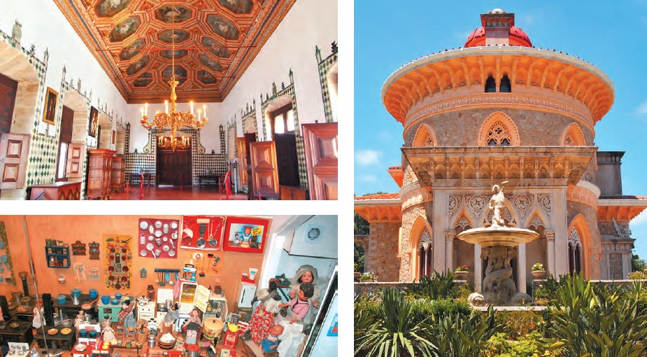 (Clockwise from bottom left) Toy museum which has a collection of more than 20,000 items; the architectural designs of Sintra National Palace; Monserrate Palace in Sintra is an exotic palatial villa with a beautiful garden