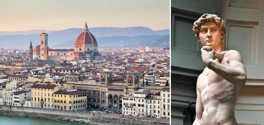 (Left) Panoramic view of the Florence city; (right) the famous Michelangelo's statue of David
