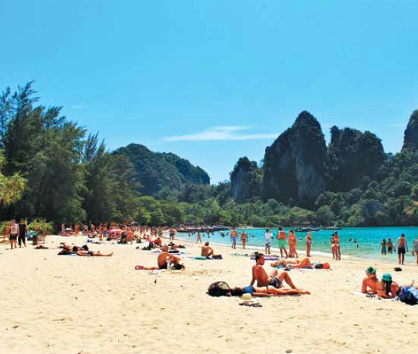 Railay beach with its huge limestone cliffs make for a breathtaking view