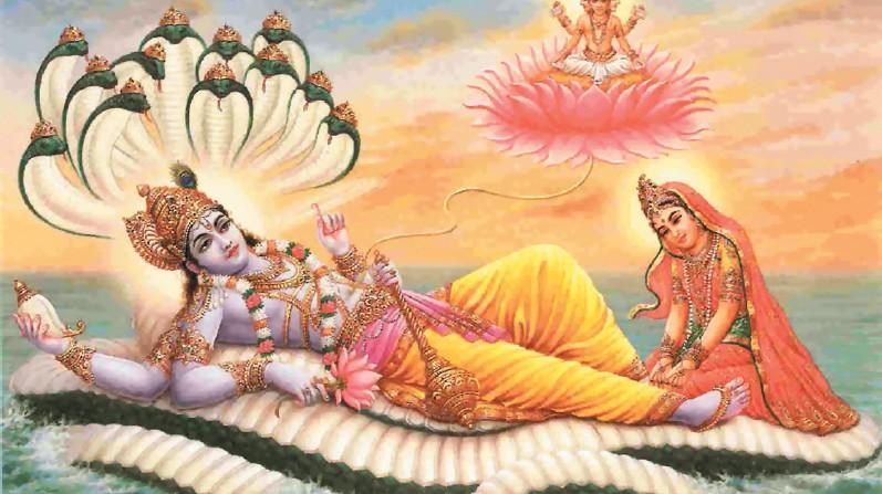 La diosa Lakshmi, en compañía de Visnú, reposa sobre unas serpientes