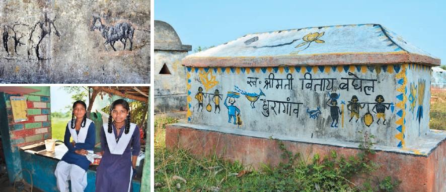 En el sentido de las agujas del reloj, de izda. a dcha.: el templo Surang Tila, en Sirpur (Raipur), un hombre de una tribu transporta objetos; el templo de Visnú en Sirpur; las piedras de memoria que celebran a los muertos; niñas de una tribu; pinturas tribales en una piedra de memoria; el bosque salvaje y el lago al anochecer en el área de Sirpur