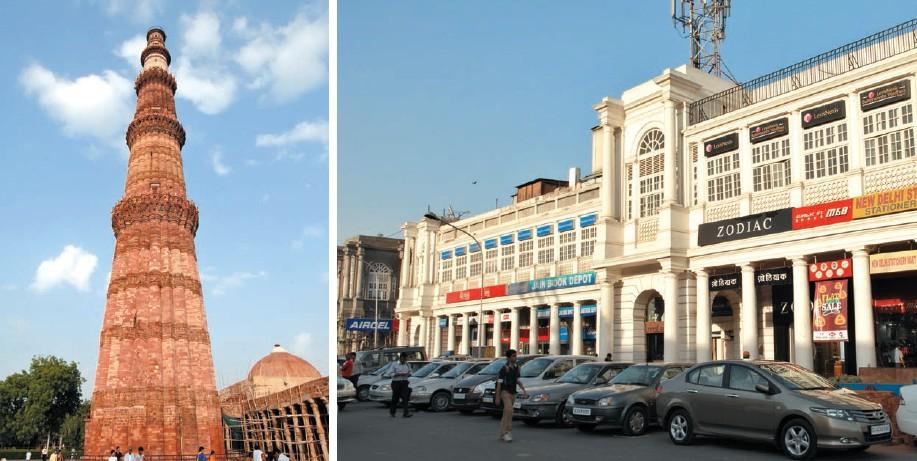De izda. a dcha.: Jama Masjid, Qtub Minar y Connaught Place, en Delhi