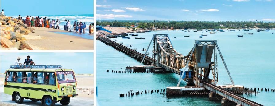 Ruinas de una iglesia; mezquita de Rameswaram; autobús de turistas en la playa; el puente que une Danushkodi