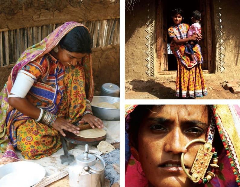 Cuisine à l'ombre d'un bhunga ; Bhunga en cours de construction ; Portrait à Banni