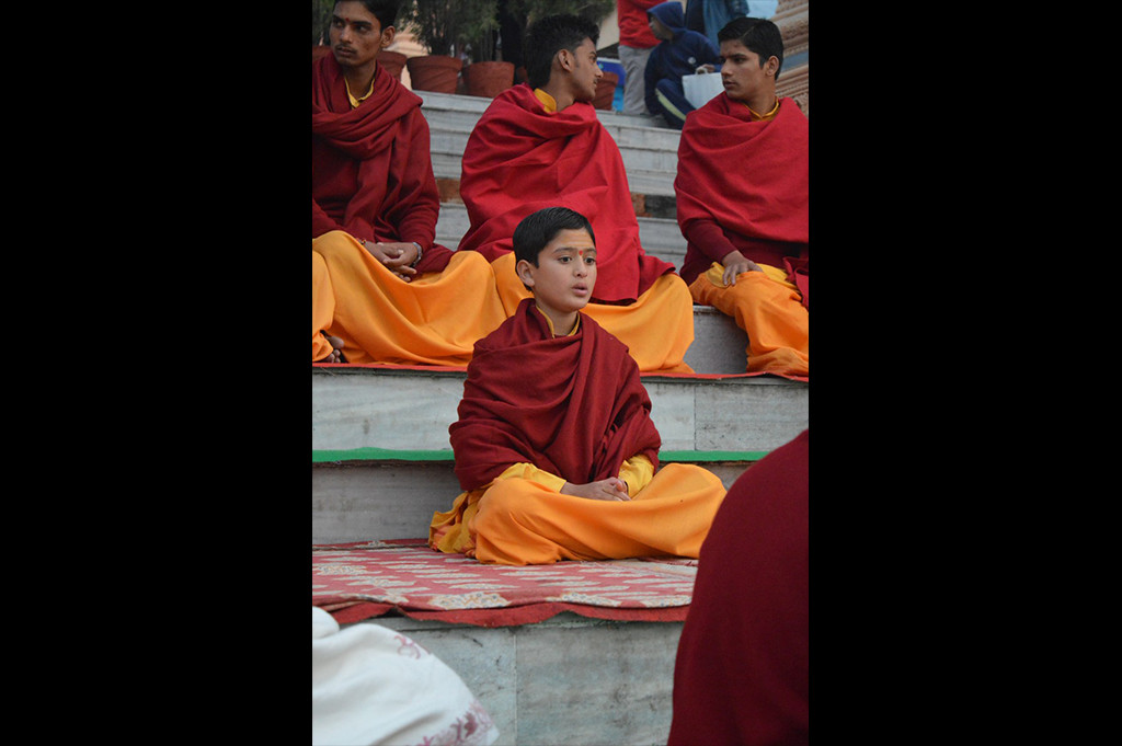 The youngest Bhraman reciting mantras in Parmath Niketan.