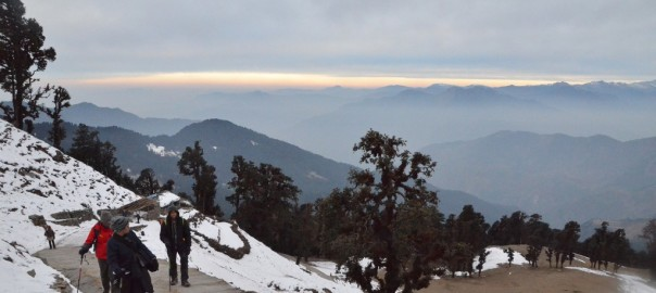 The route to Chandrashila Peak was filled with snow
