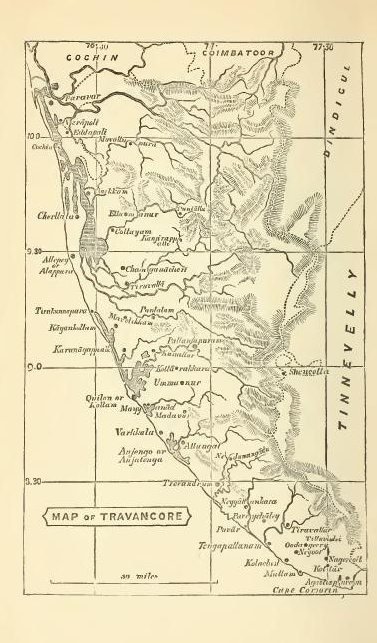 A 1871 map of the Travancore Kingdom, where Nangeli lived and suffered, in the coastal town of Cherthala (south of Cochin on the map).