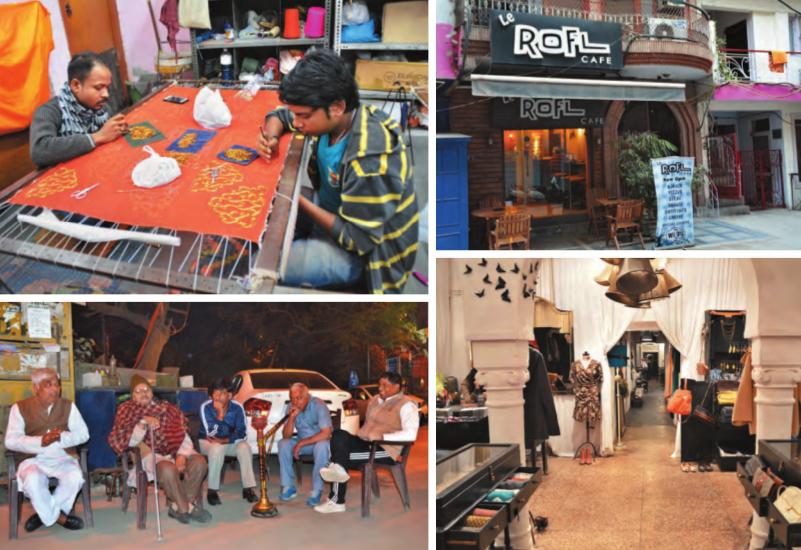 (Im Uhrzeigersinn von oben links) Versteckte Werkstätten in dem Dorf bieten ein Zuhause für zahlreiche Handwerker aus Kalkutta, die sich einen Lebensunterhalt verdienen; Kleine Cafés in den engen Gassen des Dorfes; Dorfbewohner, denen Land hier gehört verbringen ihre Zeit meist entspannt; Die klassische Inneneinrichtung des französischen Konzeptgeschäfts Les Parisiennes, das von zwei Französinnen geführt wird.