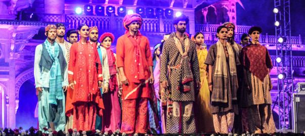 The collection was a tribute to the weavers featuring the 'gamcha' – a thin traditional scarf and 'khaadi' – hand woven cloth from India.