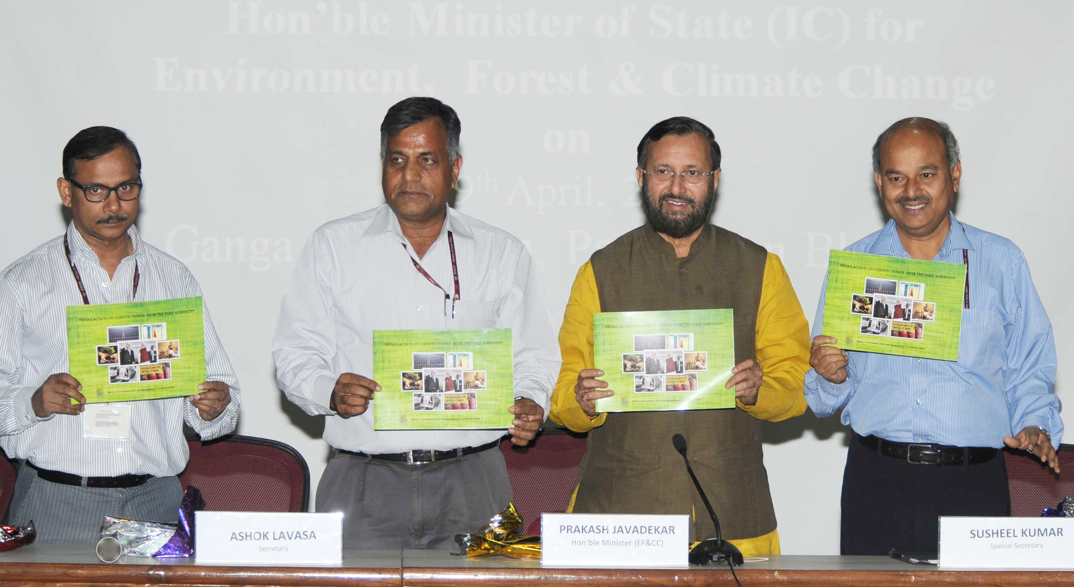 India's Minister for Environment, Forest and Climate Change (Independent Charge), Prakash Javadekar holding a press conference on post-Paris agreement, in New Delhi, on April 19, 2016.