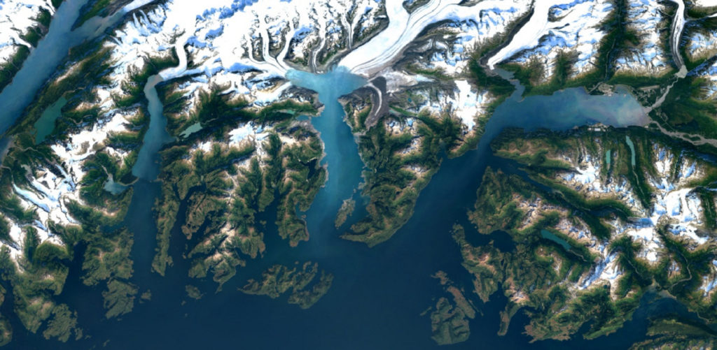Google Earth images with 700 trillion pixels of cloud-free Landsat data - Colombia Glaciers (Alaska)