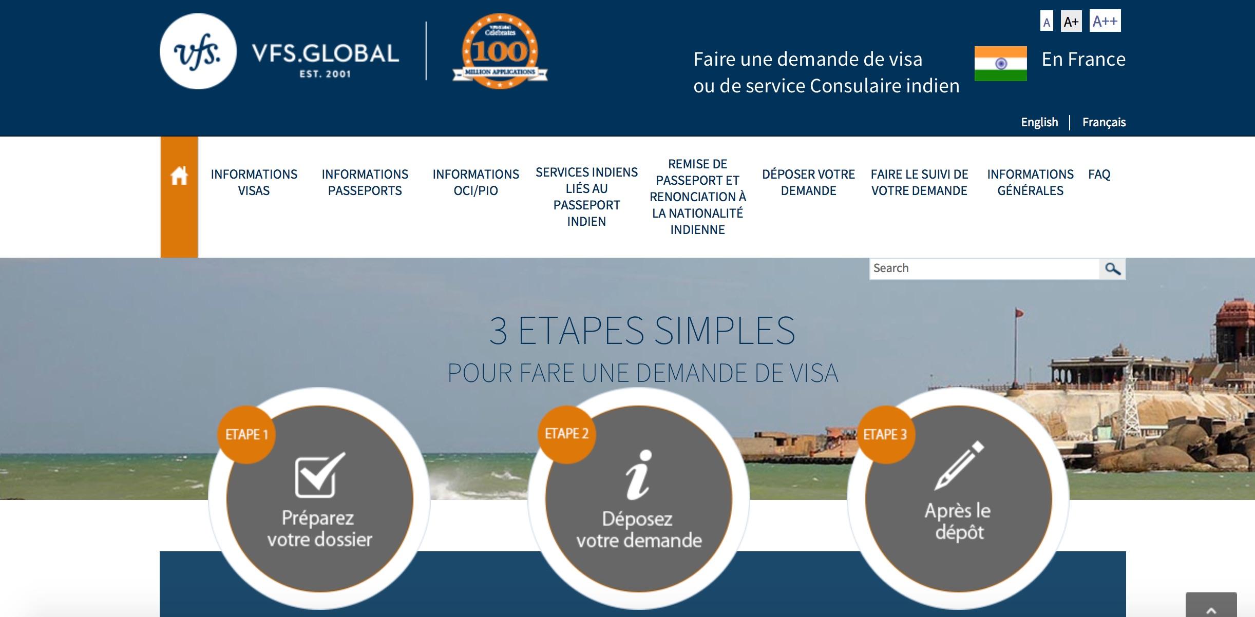 Site de VFS pour les demandes de visa pour l'Inde en France