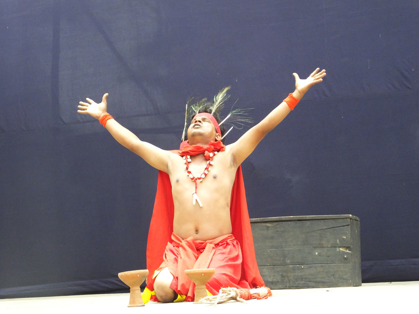 One of the actors doing a monologue scene on stage