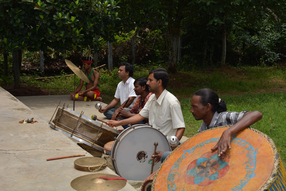 The background music team with authentic tribal instruments
