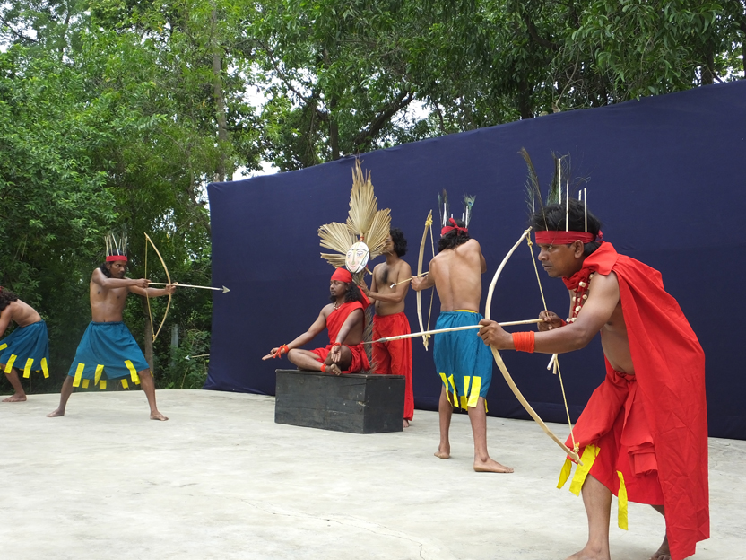 Hunting brigade practicing customary bow and arrow drills